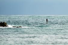 A female paddleboarder